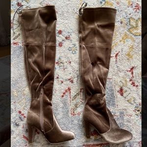 Wild Diva Over The Knee Boots, Taupe, Size 8. New!